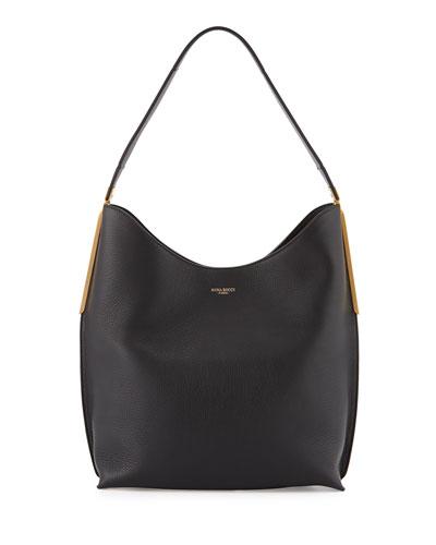 Alphee Medium Leather Hobo Bag, Black