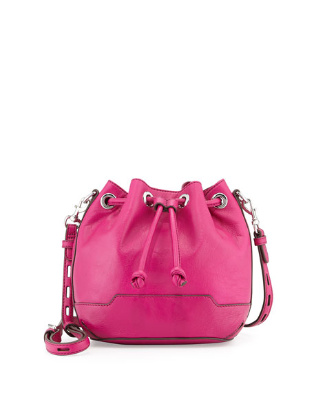 Fiona Mini Bucket Bag, Magenta/Silver