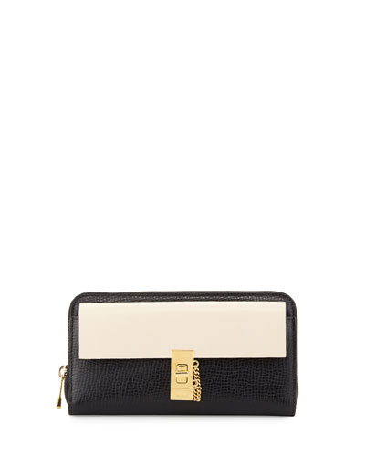 Drew Bicolor Zip-Around Wallet, Black/White