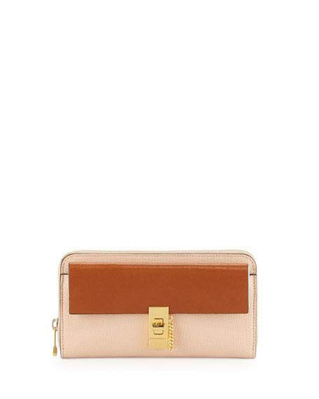 Chloe Drew Bicolor Zip-Around Wallet, Beige/Tan