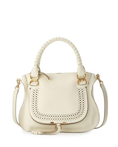 Marcie Medium Perforated Shoulder Bag, White