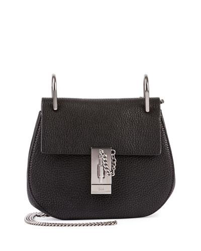 Drew Mini Lambskin Shoulder Bag, Black