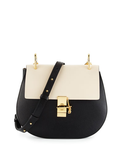 Drew Medium Grain Leather Shoulder Bag, Black/White