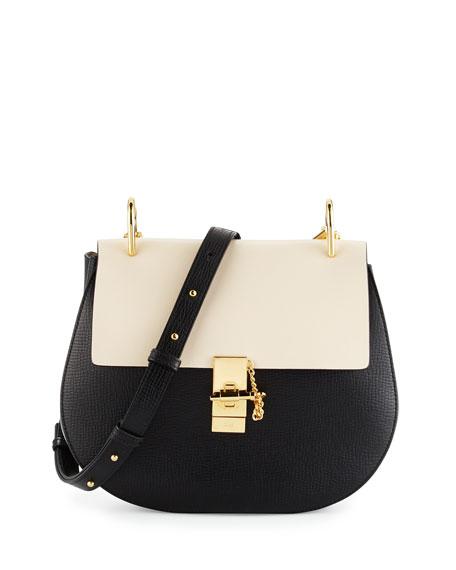 Chloe Drew Medium Grain Leather Shoulder Bag, Black/White