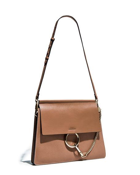 Faye Medium Leather Shoulder Bag, Tan