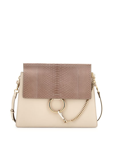 Faye Medium Python/Leather Shoulder Bag, Off White