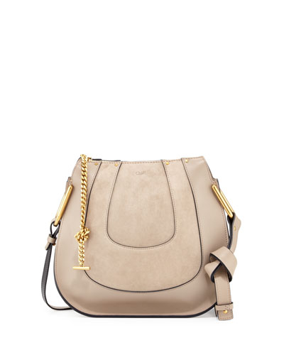 Hayley Small Suede/Leather Hobo Bag, Gray