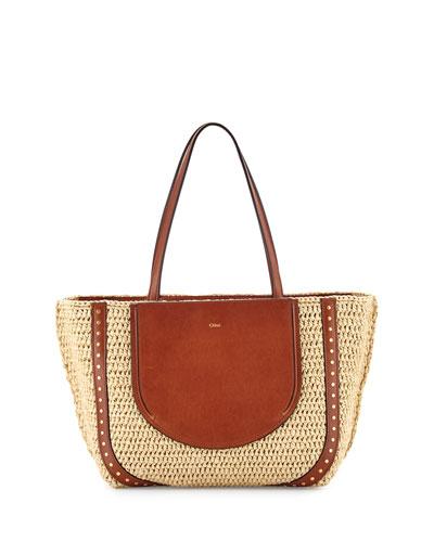 Isa Woven Shopper Tote Bag, Natural