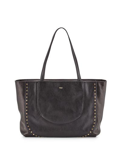 Isa Calfskin Shopper Bag, Black