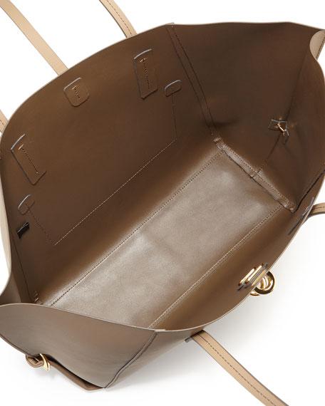 Eartha Folded-Gusset Leather Shopper Tote, Desert