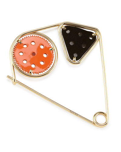 Meccano Double Pin for Handbag, Orange/Black/Gold