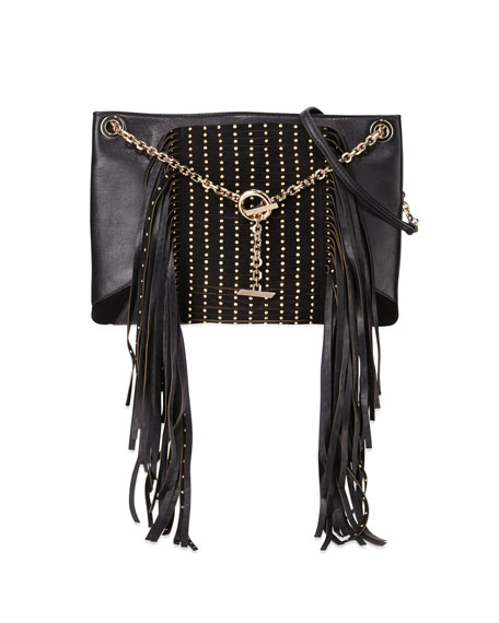 Jimmy Choo Alexia Studs and Fringe Shoulder Bag, Black