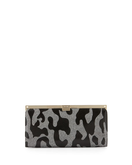 Jimmy ChooCamille Leopard Patent Glitter Clutch Bag, Gray/Black