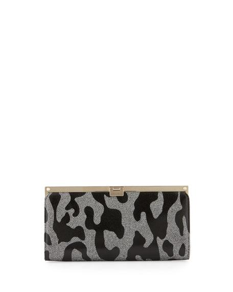 Jimmy Choo Camille Leopard Patent Glitter Clutch Bag,