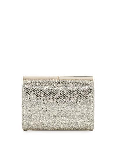 Cate Glitter Clutch Bag, Champagne