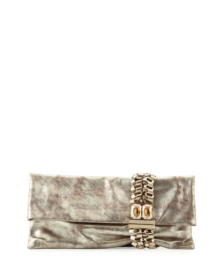 Jimmy Choo Chandra Metallic Suede Clutch Bag, Nude