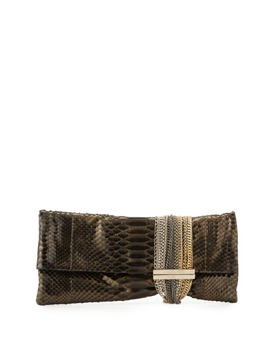 Chandra Metallic Python Clutch Bag, Black/Gold