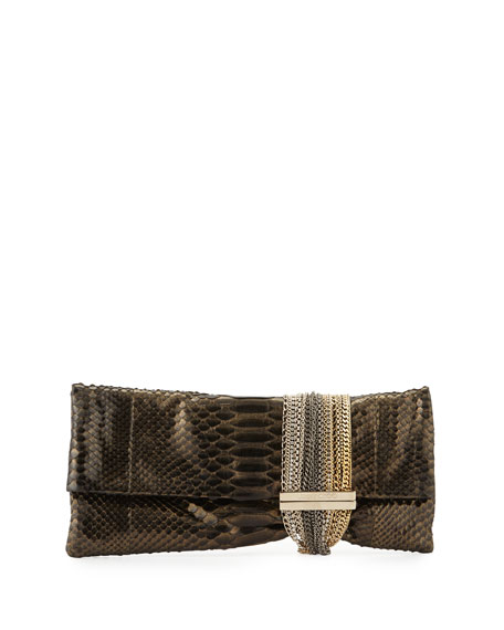 Jimmy Choo Chandra Metallic Python Clutch Bag, Black/Gold