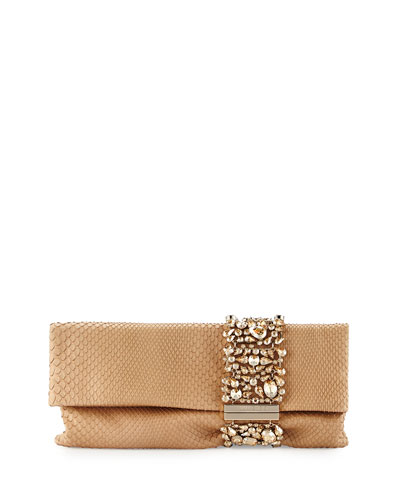 Chandra Crystal Python Clutch Bag, Nude