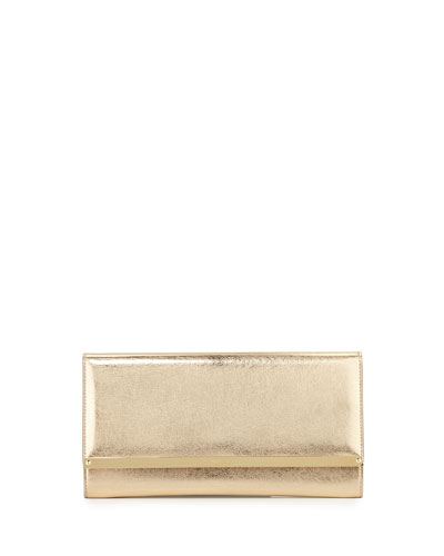 Maia Metallic Leather Clutch Bag, Gold