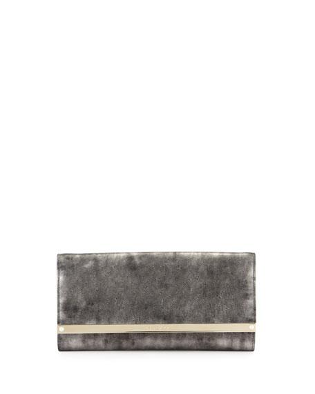 Jimmy Choo Milla Metallic Suede Clutch Bag, Gray