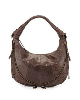 Jasmine Anaconda-Print Leather Hobo Bag, Mushroom