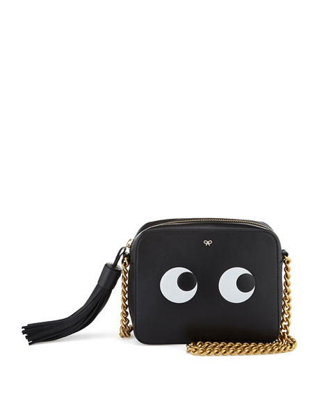 Anya Hindmarch Eyes Leather Crossbody Bag, Black