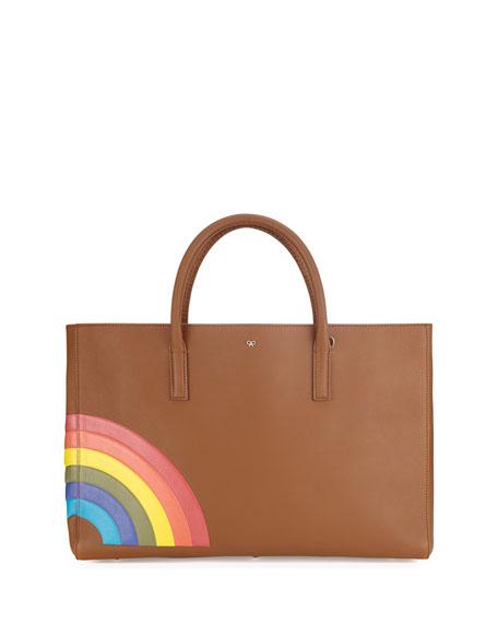 Anya Hindmarch Ebury Maxi Featherweight Rainbow Tote Bag, Caramel