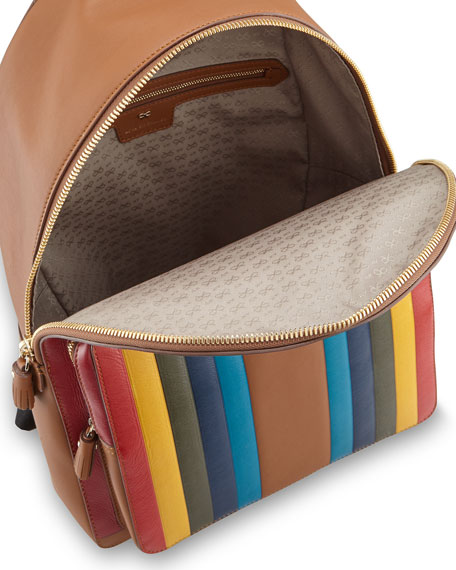 Rainbow Calfskin Leather Backpack, Caramel
