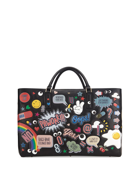 Anya Hindmarch Ebury Maxi Featherweight Tote Bag, Black/Multi