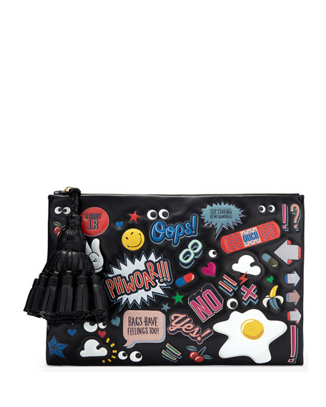 Anya Hindmarch Georgiana All Over Wink Sticker Clutch