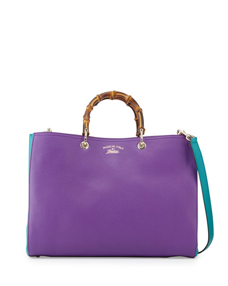 Bamboo Large Shopper Tote Bag, Purple/Turquoise