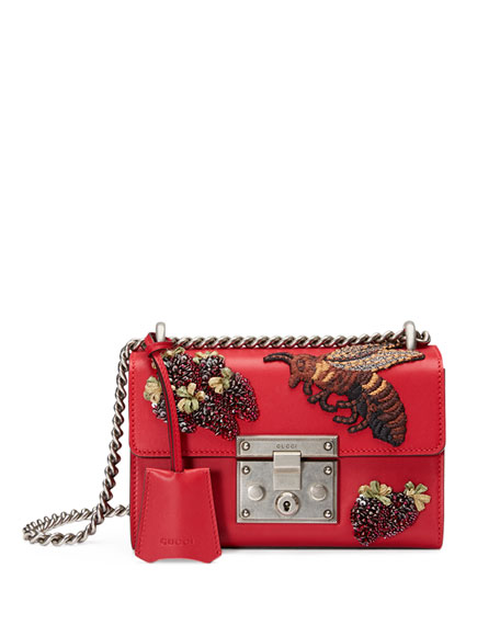 Gucci Padlock Small Embroidered Shoulder Bag, Red Multi