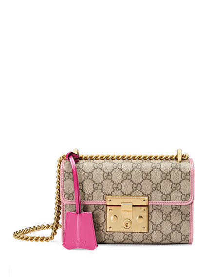 Padlock Small GG Supreme Shoulder Bag, GG Supreme/Pink