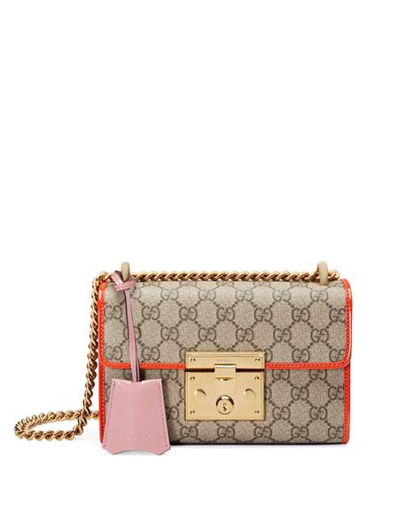 Padlock Small GG Supreme Shoulder Bag, GG Supreme/Orange