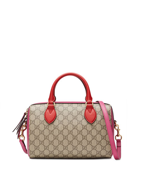 Gucci GG Supreme Small Top-Handle Bag, Red/Pink