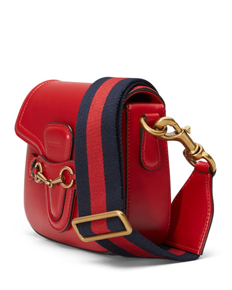 Lady Web Medium Leather Shoulder Bag, Red