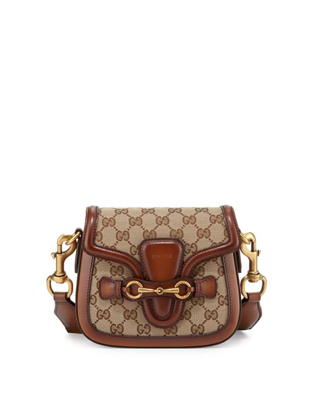 Lady Web Small GG Canvas Shoulder Bag, Brown