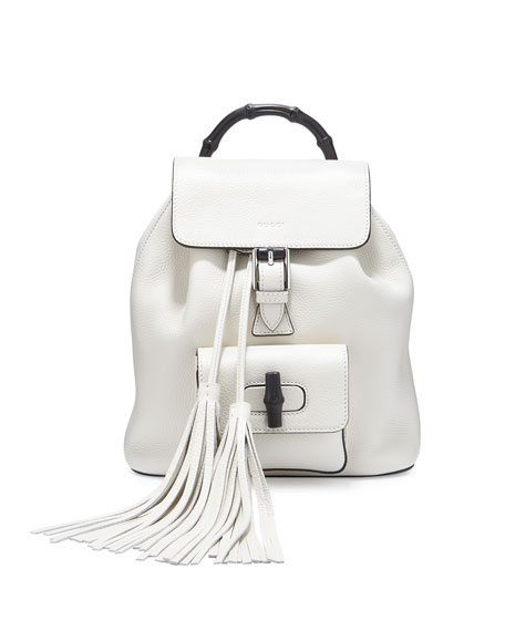 Gucci Bamboo Small Leather Backpack, White