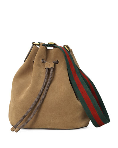 Linea B Medium Drawstring Suede Bucket Bag, Taupe