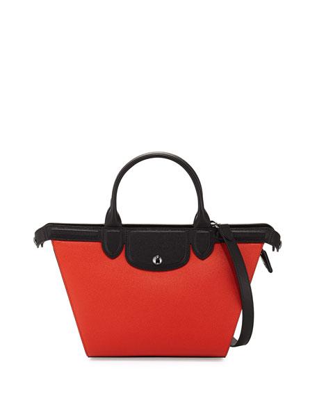Le Pliage Heritage Tricolor Medium Satchel Bag Terracotta/Black/Ecru