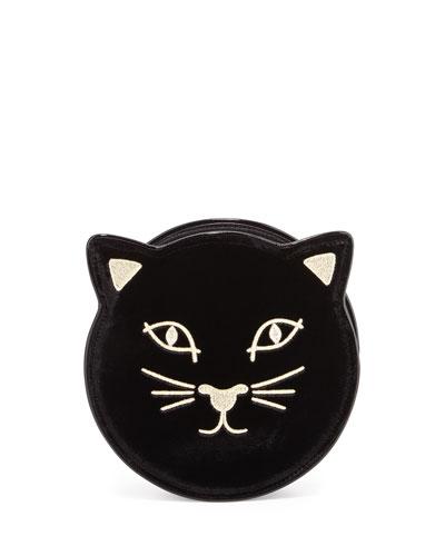 Kitty Round Velvet Clutch Bag, Black
