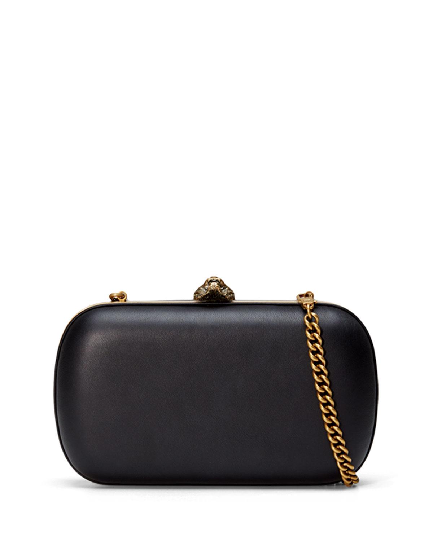 11cb862e8e Gucci Broadway Round Leather Clutch Bag, Black | Neiman Marcus