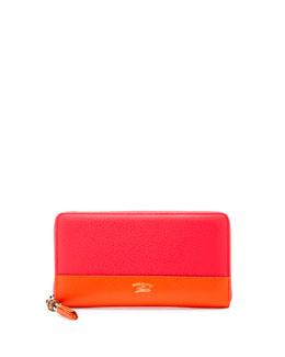 Colorblock Leather Zip-Around Wallet, Fuchsia/Orange