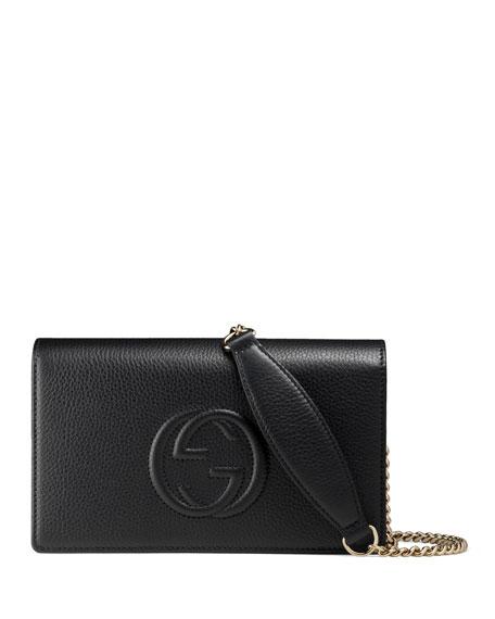 GucciSoho Leather Mini Chain Bag, Black
