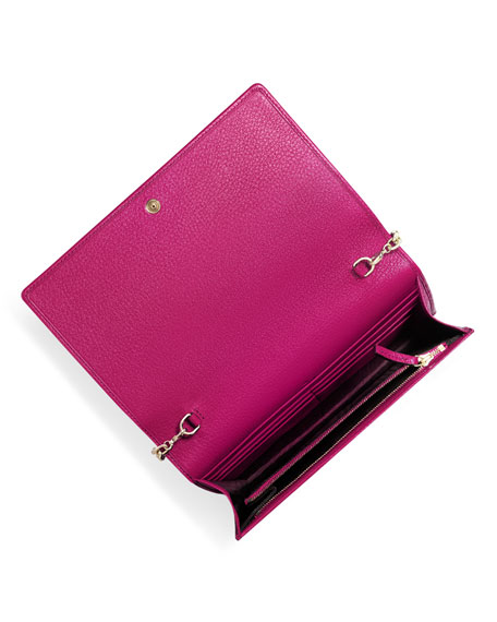 Image 3 of 5: Soho Leather Mini Chain Bag, Bright Pink