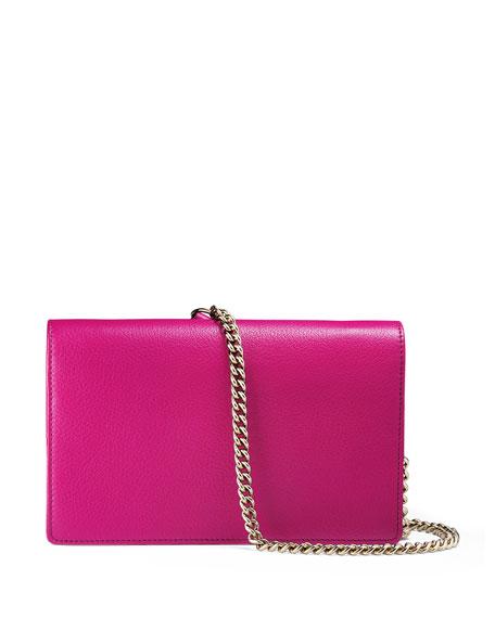Soho Leather Mini Chain Bag, Bright Pink