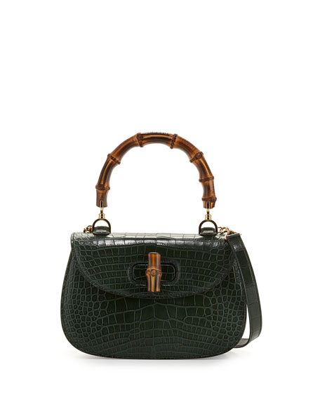 Bamboo Classic Small Crocodile Bag, Emerald Green