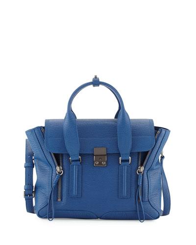 Pashli Medium Leather Satchel Bag, Cerulean