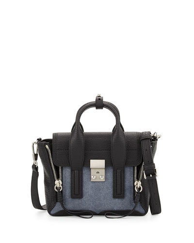 Pashli Mini Leather Satchel Bag, Denim/Black